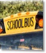 Back To School Bus Watercolor Metal Print