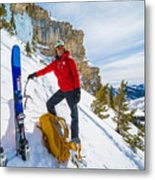 Backcountry Skier Preps For Ice Climbing On Cobb Peak In Idaho Metal Print