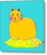 Background Colour Choice Saffron Cat Metal Print