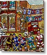 Backlane Snowy Winter Scene Hockey Game Verdun Alley Montreal Team Jerseys Canadian Art Metal Print