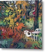 Backyard In Autumn Metal Print by Donald Maier