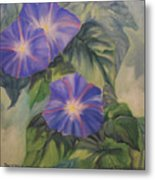 Backyard Morning Glories Metal Print