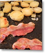 Bacon And Potatoes On A Griddle Metal Print