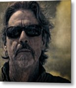 Badass Man In Sunglasses Stares Into The Unknown Metal Print