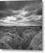 Badlands White River Valley Bw Metal Print