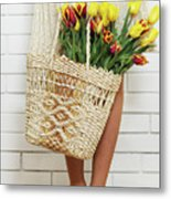 Bag With A Bouquet Of Tulips Metal Print