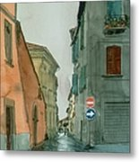 Bagnoregio Street In The Rain Metal Print