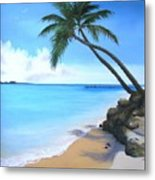 Bahamian Twin Palms Metal Print