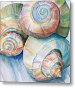 Balance In Spirals Watercolor Painting Metal Print