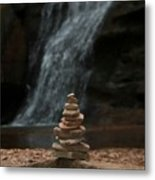 Balanced Stones Waterfall Metal Print