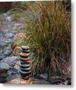 Balancing Zen Stones In Countryside River V Metal Print