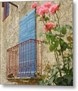 Balcony And Roses Metal Print