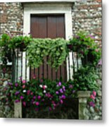 Balcony On Pebbled Wall Metal Print