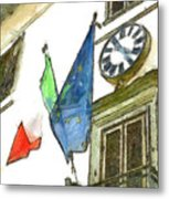 Balcony With Flags And Clock Metal Print