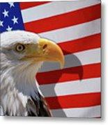 Bald Eagle And Us Flag Metal Print