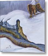 Bald Eagle On Snowdrift Wildlife Vignette Metal Print