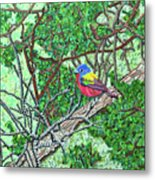 Bald Head Island, Painted Bunting At Defying Gravity Metal Print