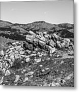 Bald Mountain Rock Formation In Black And White Metal Print