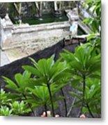 Bali Lady Fountain Metal Print