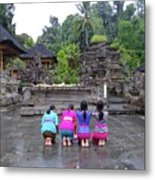 Bali Temple Women Bowing Metal Print