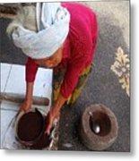 Balinese Lady Sifting Coffee Metal Print