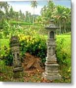 Balinese Rice Field Shrines Metal Print