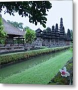 Balinese Temple With Flower Metal Print