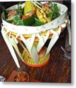 Balinese Traditional Dinner Basket Metal Print
