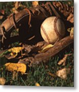 Ball And Glove Metal Print