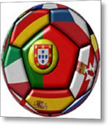 Ball With Flag Of Portugal In The Center Metal Print