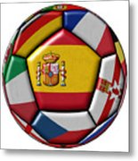 Ball With Flag Of Spain In The Center Metal Print