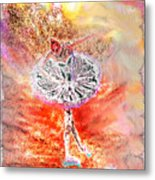 Ballerina Bowing With Flowers Metal Print