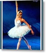 Ballerina On Stage L A With Alt. Decorative Ornate Printed Frame.  Metal Print
