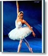 Ballerina On Stage L A With Decorative Ornate Printed Frame. Metal Print