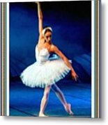 Ballerina On Stage L B With Alt. Decorative Ornate Printed Frame. Metal Print