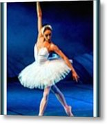 Ballerina On Stage L B With Decorative Ornate Printed Frame. Metal Print