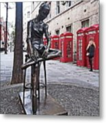 Ballerina Statue And Telephone Boxes Metal Print