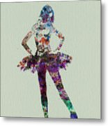 Ballerina Watercolor Metal Print by Naxart Studio