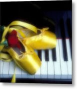 Ballet Shoes On Piano Keys Metal Print by Garry Gay
