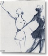 Ballet Sketch Two Dancers Mirror Image Metal Print