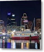 Baltimore Harbor At Night Metal Print