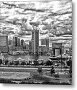 Baltimore Inner Harbor Dramatic Clouds Panorama In Black And White Metal Print