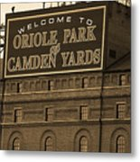 Baltimore Orioles Park At Camden Yards Sepia Metal Print