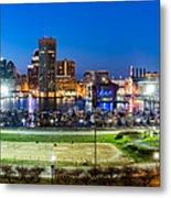 Baltimore Skyline Panorama At Dusk Metal Print