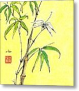 Bamboo And Dragonfly Metal Print