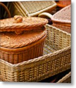 Bamboo Baskets Metal Print