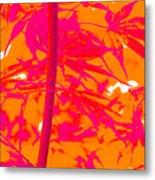 Bamboo Like Leaves Orange Metal Print