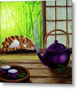 Bamboo Morning Tea Metal Print