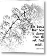 Bamboo Tree With Two Birds Bends In The Wind Metal Print