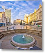 Ban Jelacic Square In Zagreb Advent View Metal Print